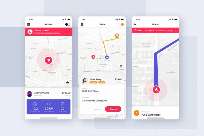 Thumbnail for Taxi Driver UI Concept for mobile app