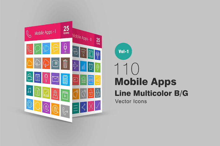 Thumbnail for 110 Mobile Apps Line Multicolor Icons