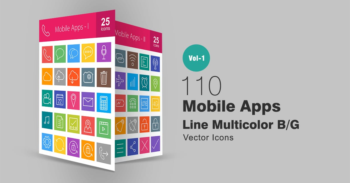 Download 110 Mobile Apps Line Multicolor Icons by Unknow