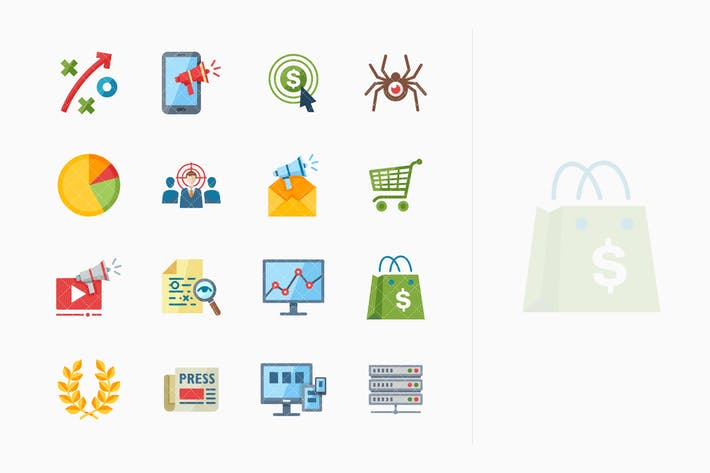 Thumbnail for SEO & Internet Marketing Icons Set 3 - Flat Series
