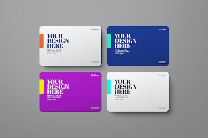 Thumbnail for Business Card Mockup Rounded Corner Landscape