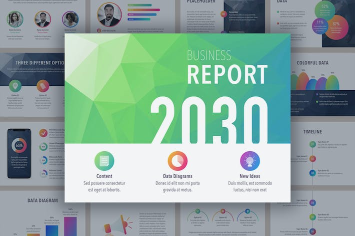 Thumbnail for Business Report Colorite Keynote Template