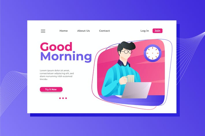 Thumbnail for Good Morning Landing Page Illustration
