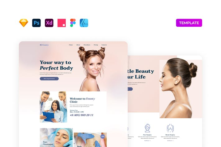 Thumbnail for Beauty Clinic Website Vorlage