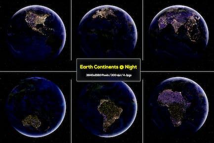 6 Erdkontinente bei Nacht