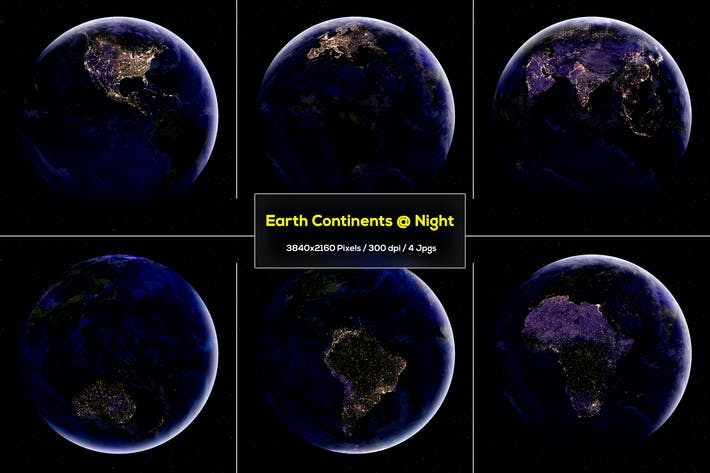 Thumbnail for 6 Earth Continents at Night