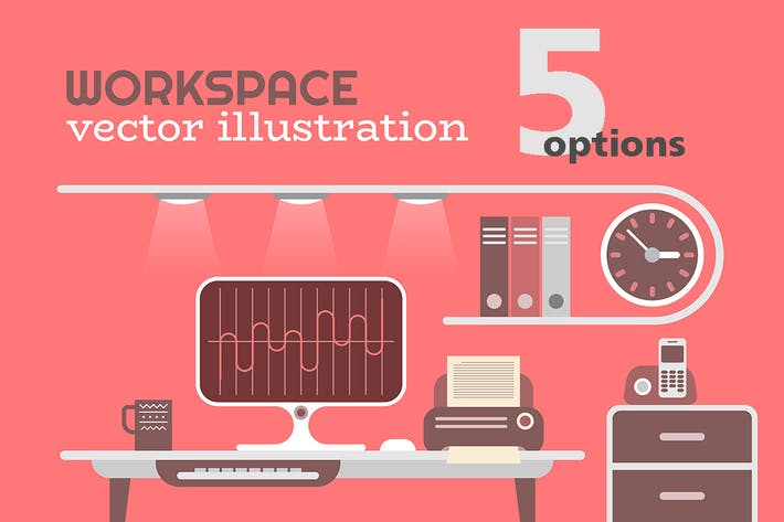 Thumbnail for 5 options: Office Workplace vector illustration