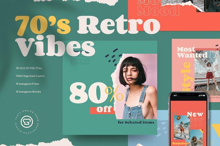 Thumbnail for 70's Retro Vibes Social Media Pack