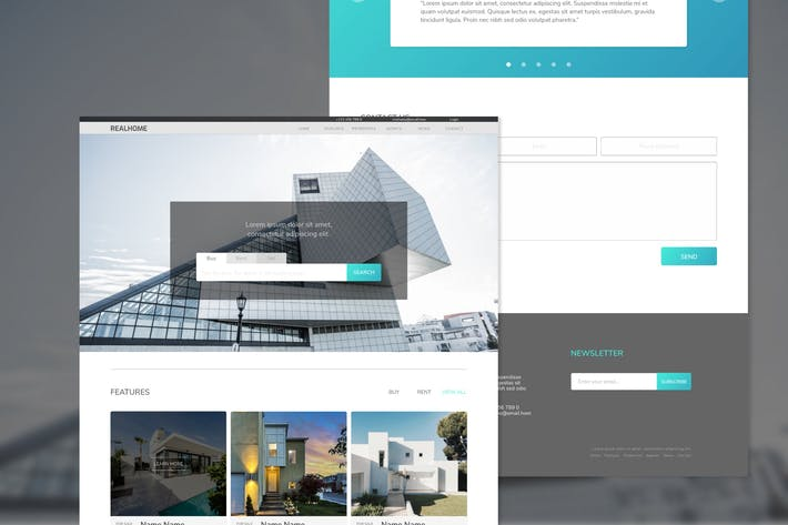 Cover Image For Realhome Real Estate Adobe XD Template