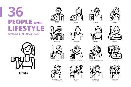 Conjunto de iconos de estilo de contorno de estilo de vida