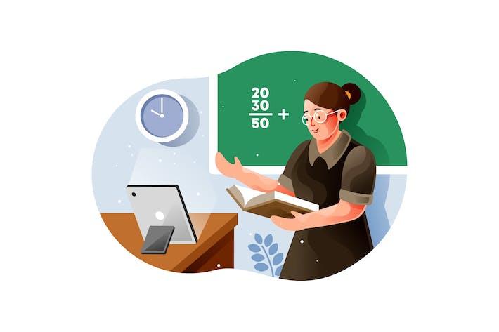 Thumbnail for Female teacher giving an online math class
