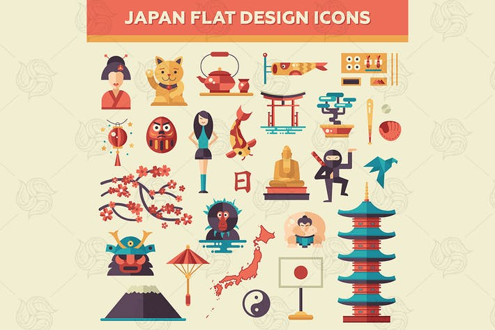 Thumbnail for Japan - Flat Design Icons Set