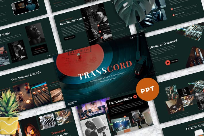 Thumbnail for Transcord - Recording Studio  Powerpoint Templates