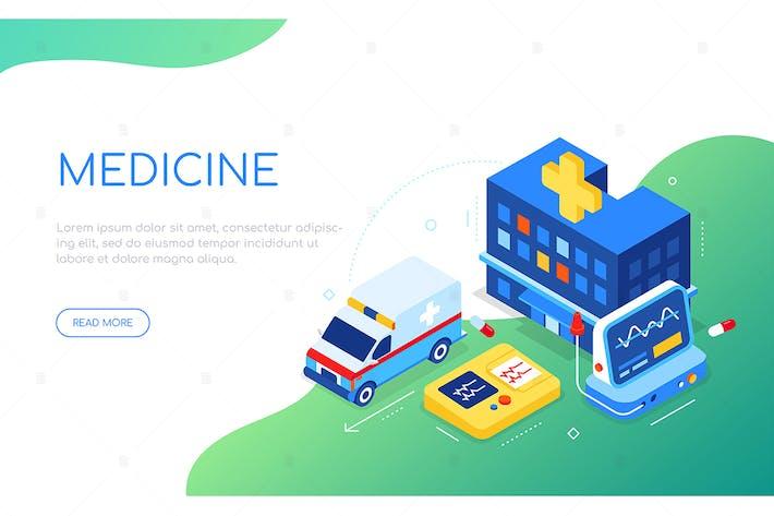 Medicine and hospital - isometric web banner