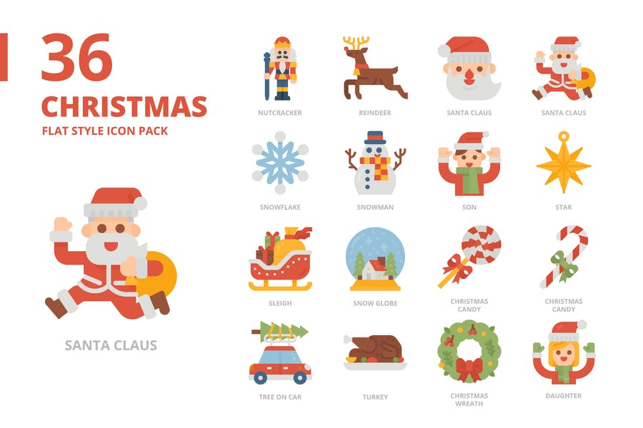 Christmas Flat Style Icon Pack