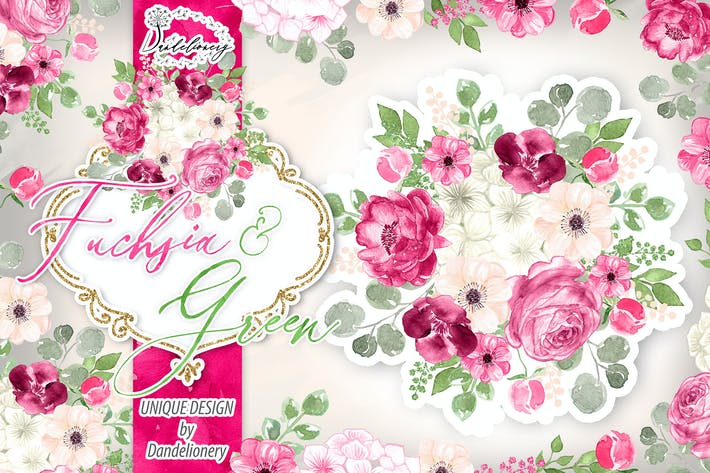 Thumbnail for Watercolor Fuchsia And Green design