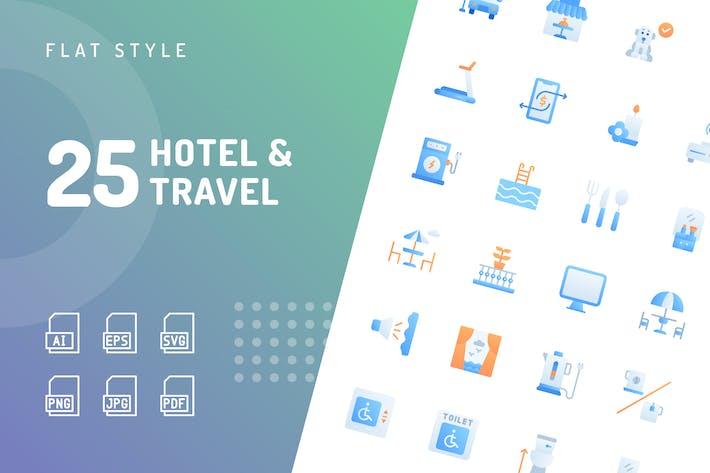 Отель & Путешествия Плоские Иконки