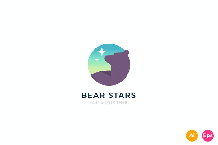 Thumbnail for Bear Stars Logo Template