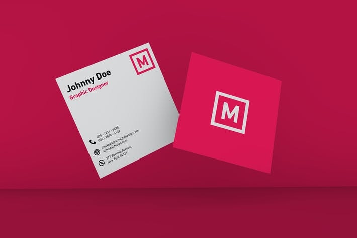 Thumbnail for Floating Square Business Card Mockup