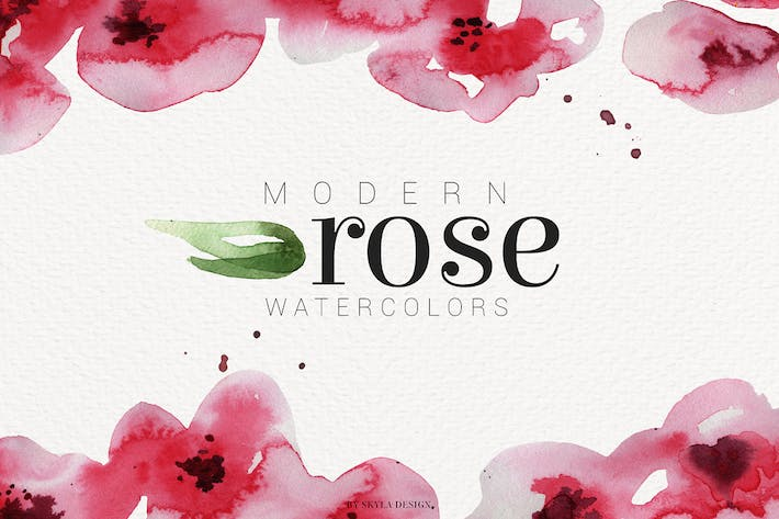 Thumbnail for Modern Rose watercolor flowers leaves