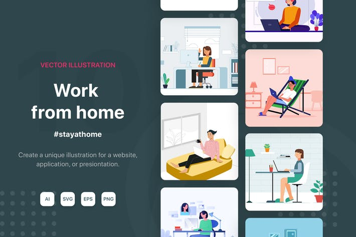 Cover Image For Work from home Vector Illustrations