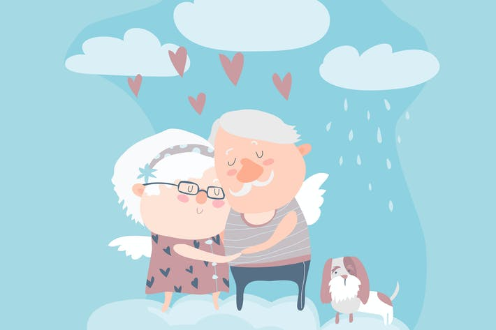 Thumbnail for Couple of elderly angels hugging. Vector