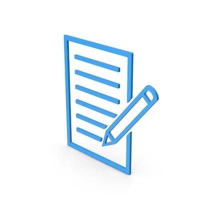 Documento de símbolo con bolígrafo azul