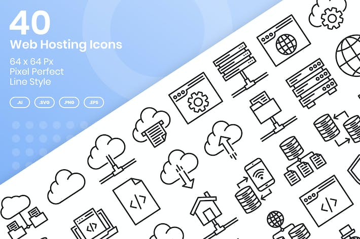 Thumbnail for 40 Web Hosting Icons Set - Line