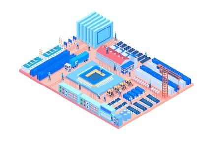 Isometrische Industriefabrik in Leiterplatte