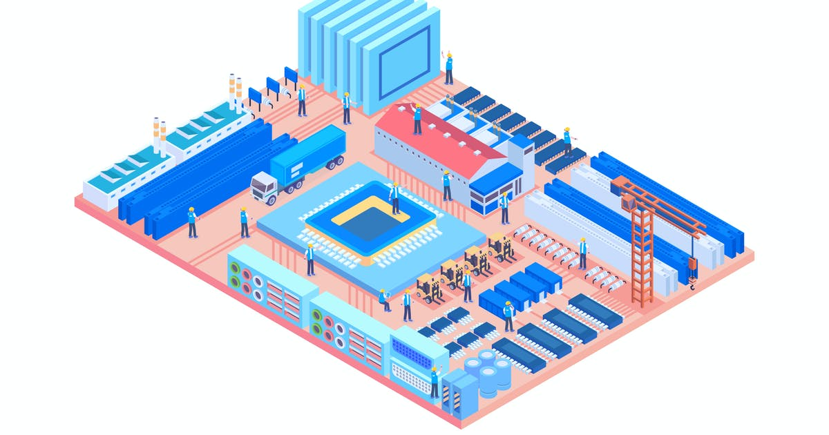 Download Isometric Industrial Factory in Circuit Board by naulicrea