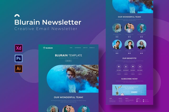 Thumbnail for Bluerain | Modèle Newsletter