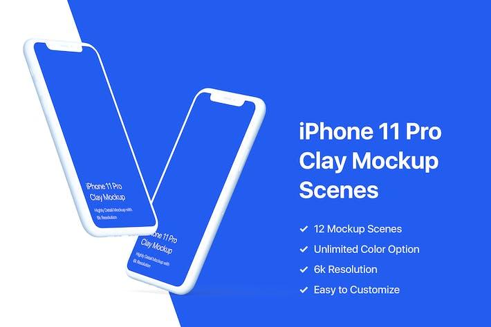 Thumbnail for iPhone 11 Pro Mockup - Clay Mockup Pack