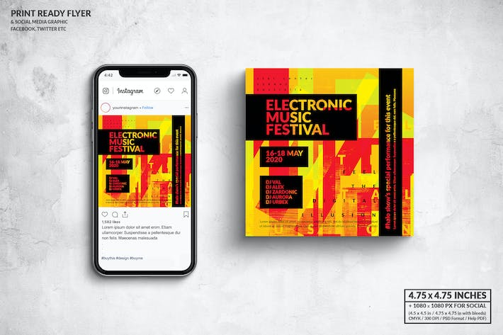 Thumbnail for Electronic Music Square Flyer & Social Media Post
