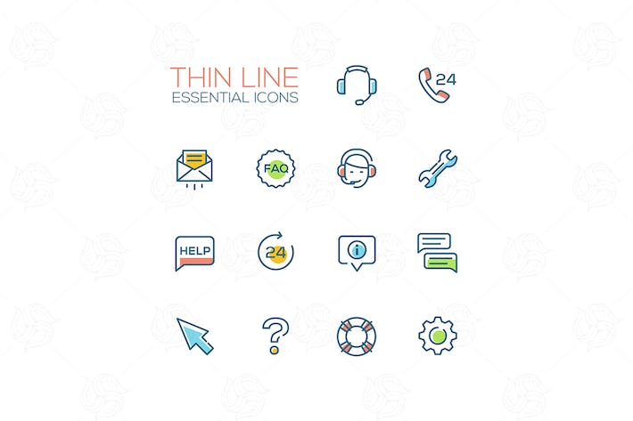 Thumbnail for Help Center - Thin Single Line Icons Set
