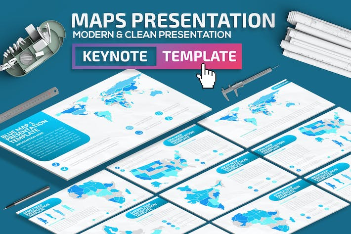 Thumbnail for Blue Map Keynote Presentation