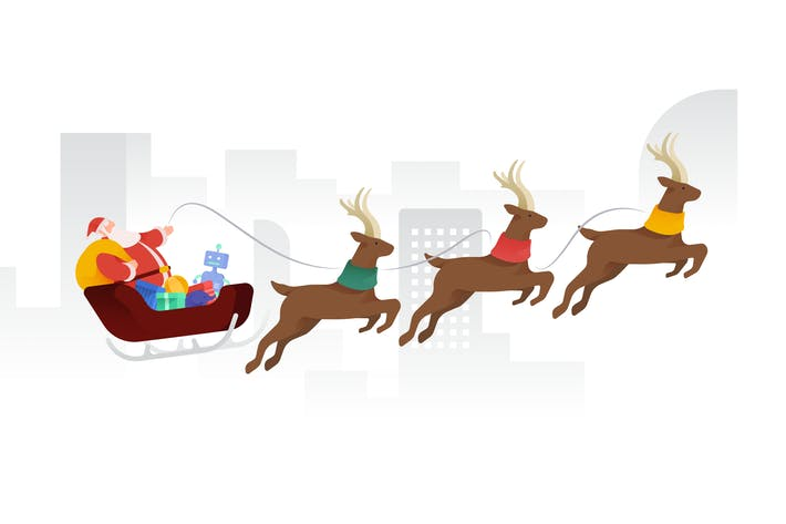Thumbnail for Santa riding over City Vector Illustration
