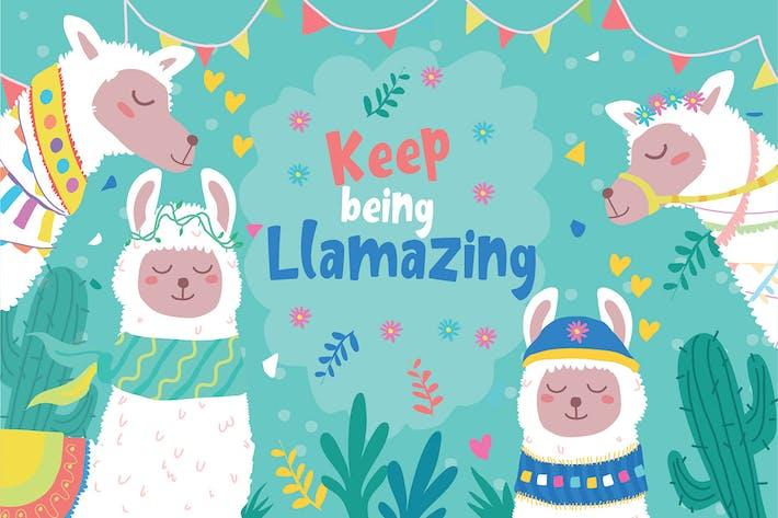 Thumbnail for Llama Cards - Vector Illustration