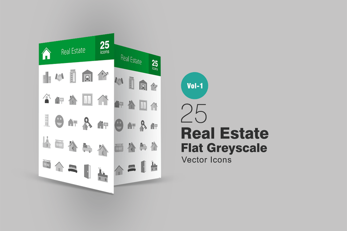 Thumbnail for 25 Real Estate Greyscale Icons