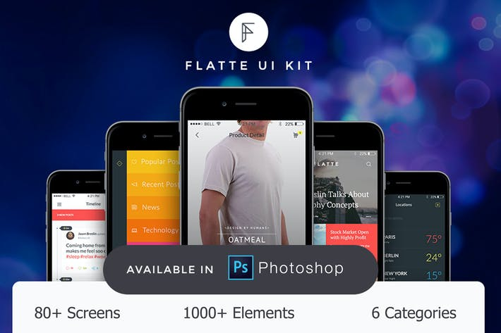 Thumbnail for Flatte UI Kit - 80++ for Photoshop