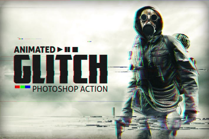 Thumbnail for Animated Glitch - Photoshop Action