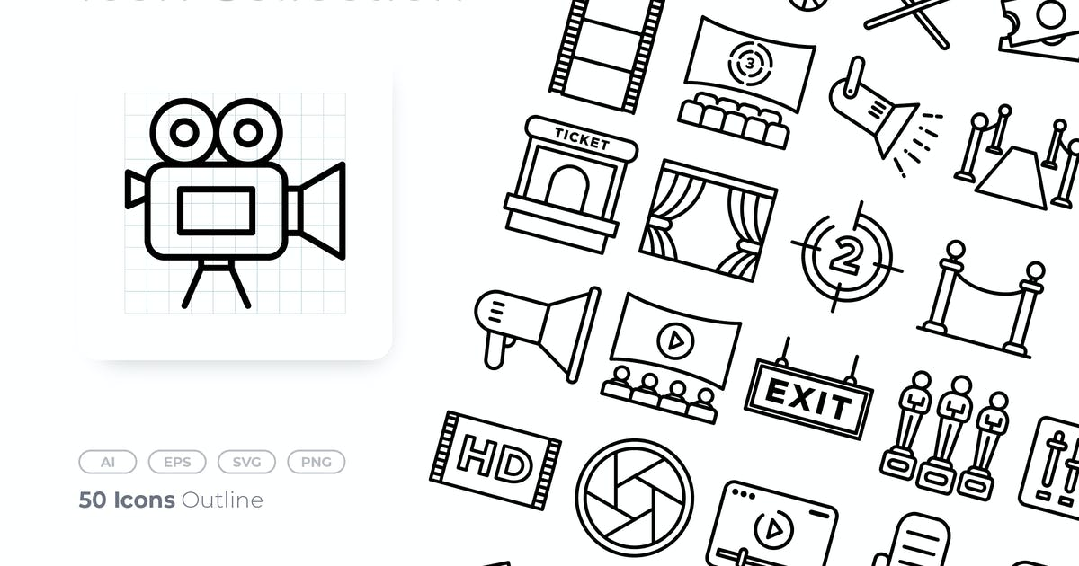 Download Cinema Outline Icon by GoodWare_Std
