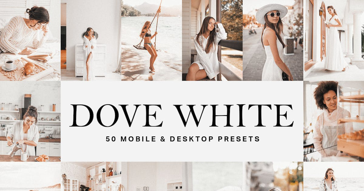 Download 50 Dove White Lightroom Presets and LUTs by sparklestock