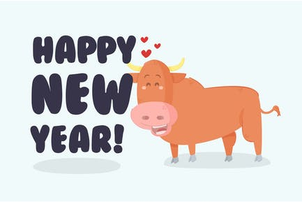 Cute Ox with Creative 2021 New Year Background