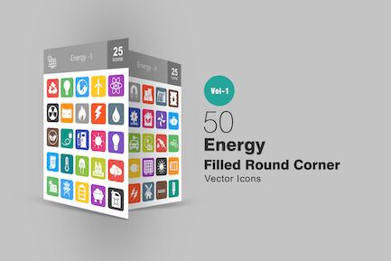 50 Energy Filled Round Corner Icons