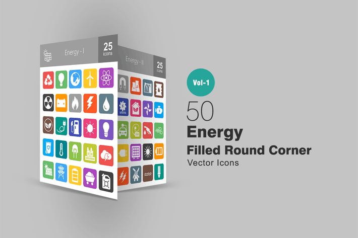 Thumbnail for 50 Energy Filled Round Corner Icons