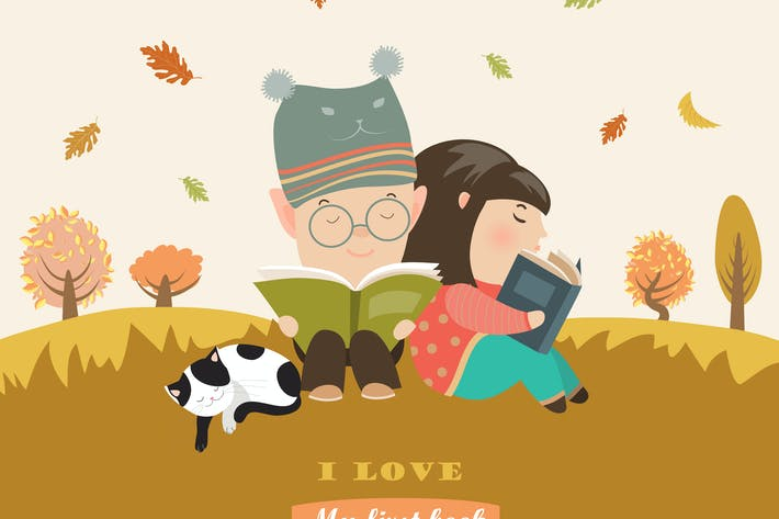 Thumbnail for Kids reading book at autumn meadow. Vector
