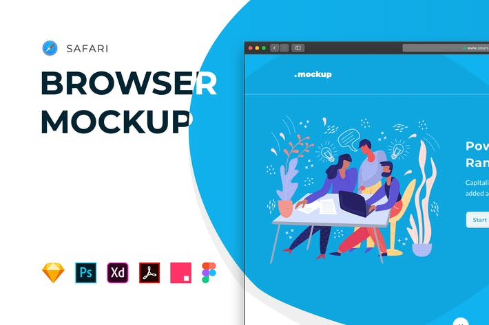 Thumbnail for Web Browser Mockup – Safari Website Frame