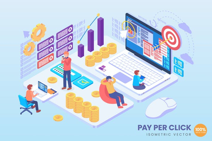 Thumbnail for Isometric Par Per Click Advertising Vector Concep