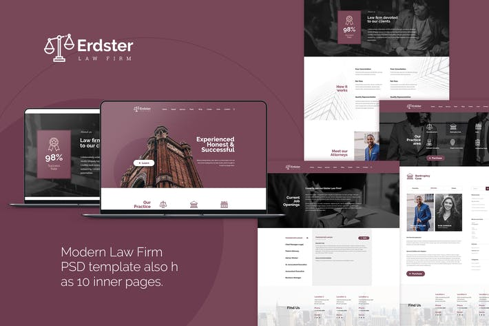 Thumbnail for Erdster - Law Firm PSD Template