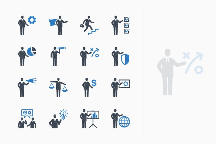Thumbnail for Business Management Icons Set 2 - Blue Series